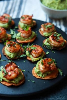 Cajun Shrimp Guacamole Bites, the perfect appetizer for your next game day party! Creamy, spicy, healthy, paleo, and delicious!   joyfulhealthyeats.com Easy Healthy Recipes