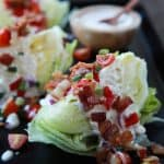 classic wedge salad with light blue cheese dressing