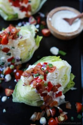 Simple Classic Wedge Salad with a Light Blue Cheese Dressing - a easy refreshing salad loaded with flavor from crispy Bacon to tangy Blue Cheese! Definitely a crowd pleaser and only 179 calories! | joyfulhealthyeats.com #glutenfree Quick Easy Dinner Ideas