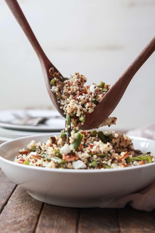 Creamy Goat Cheese Asparagus Quinoa Salad