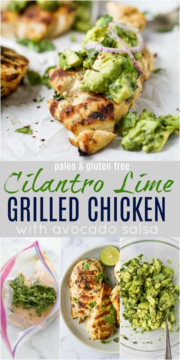 pinterest image with grilled cilantro lime chicken with avocado salsa