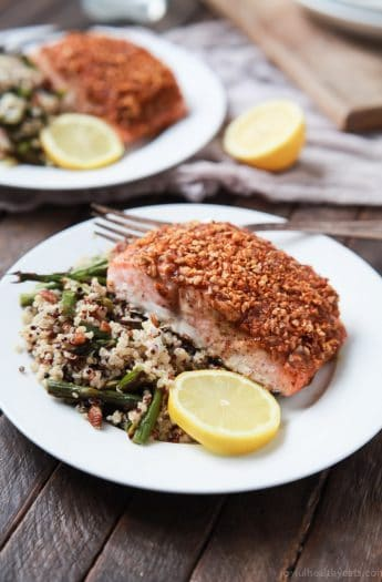 Impress your family or dinner guests with this easy Honey Mustard Pecan Crusted Salmon recipe. All you'll need is 5 ingredients and 15 minutes to make this dynamite meal! Dinner just got easier! | joyfulhealthyeats.com #paleo #glutenfree Easy Dinner Recipes