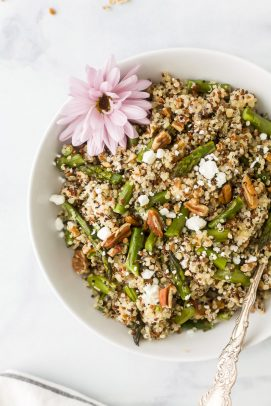 light creamy goat cheese asparagus quinoa salad in a bowl