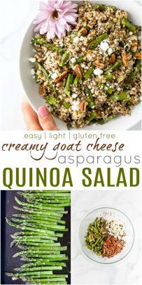 pinterest image for light creamy goat cheese asparagus quinoa salad