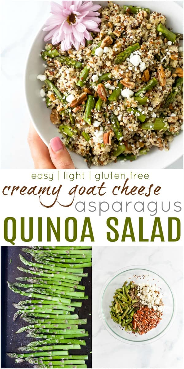 pinterest image for light creamy goat cheese asparagus quinoa salad