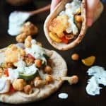 Image of Moroccan Cauliflower Chickpea Pita with Tzatziki Sauce