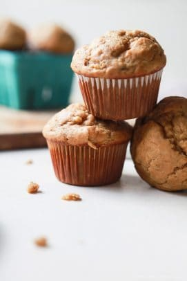 Spiced Chai Banana Muffins with a secret ingredient for an extra nutritional boost. These muffins are butter free, refined sugar free, crazy moist, and absolutely delicious. You and your kids will fall in love! | joyfulhealthyeats.com Easy Healthy Recipes