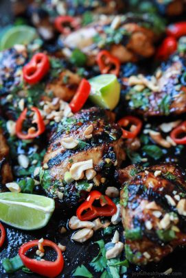 Gluten Free Spicy Thai Grilled Chicken, filled with bold asian flavors, extremely moist tender meat, and easy enough for a weeknight! A meal so irresistible your family is going to fall in love! | joyfulhealthyeats.com