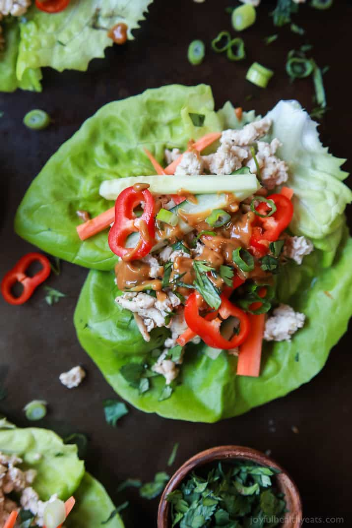 Thai Chicken Lettuce Wraps Made From Scratch With Chicken Fresh Ginger Cilantro