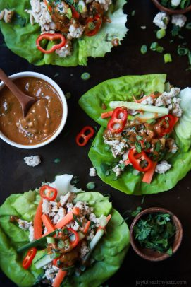 Image of Thai Chicken Lettuce Wraps with Spicy Peanut Sauce