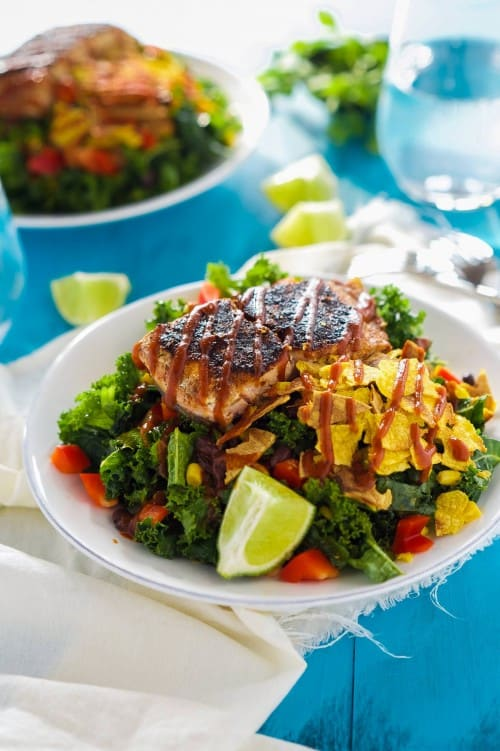 BBQ Salmon Salad with Honey Chipotle Vinaigrette