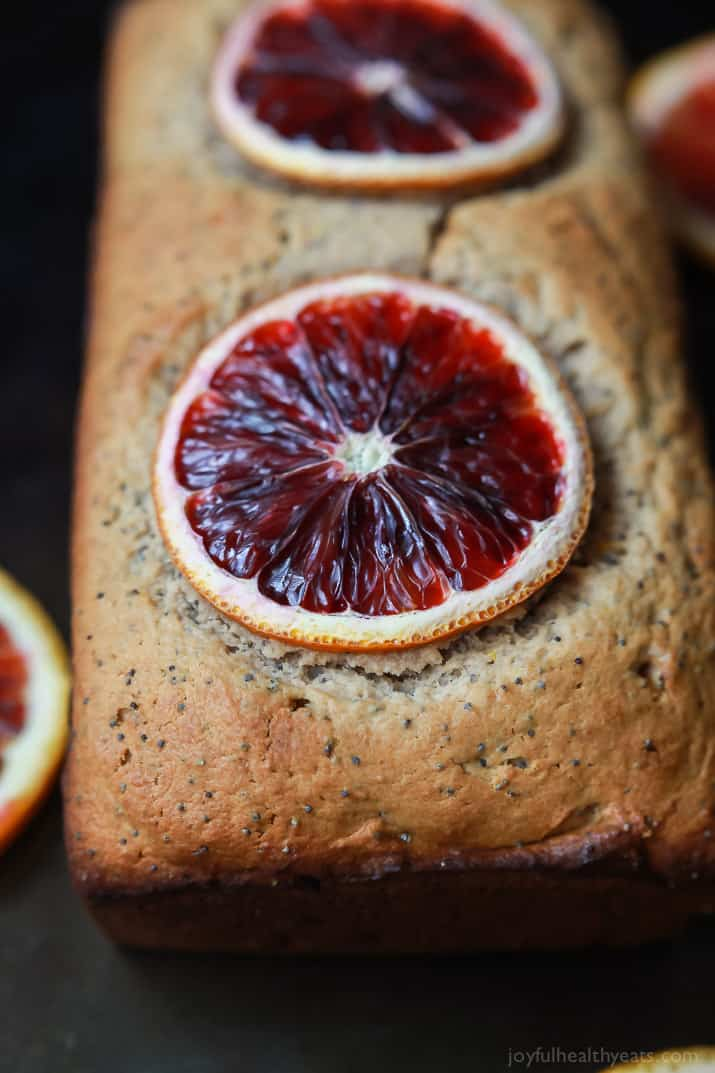 Easy Moist Blood Orange Poppy Seed Bread, full of bright orange flavor with hints of poppy seed in every bite. Hands down my favorite bread recipe! | joyfulhealthyeats.com