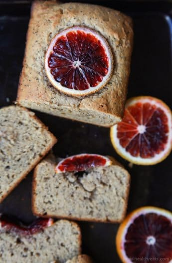 Easy Moist Blood Orange Poppy Seed Bread, full of bright orange flavor with hints of poppy seed in every bite. Hands down my favorite bread recipe! | joyfulhealthyeats.com Easy Healthy Recipes