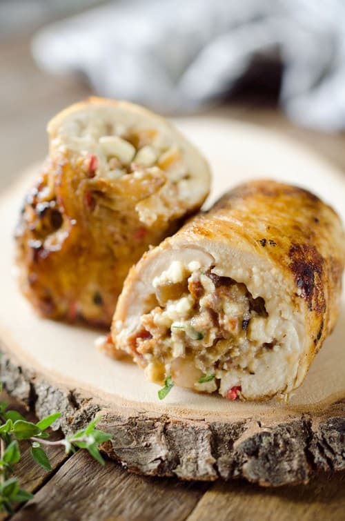 Chicken Bacon Feta Roulade