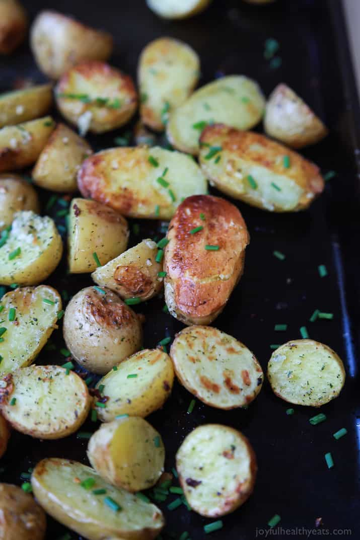 Garlic Ranch Potatoes on a baking sheet