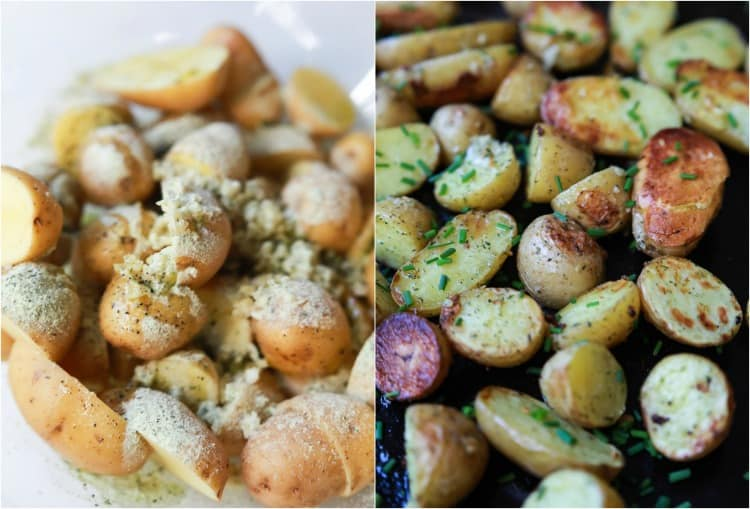 Garlic Ranch Potatoes before and after baking