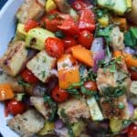 An incredible Grilled Vegetable Panzanella Salad filled with crunchy ciabatta bread, charred vegetables, fresh basil, and sweet balsamic vinaigrette! This salad, is light, refreshing, and totally swoon worthy!   joyfulhealthyeats.com