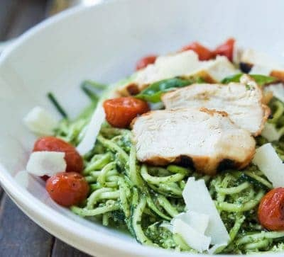 An easy dinner recipe for a busy week, and no stove needed! Pesto Chicken Zoodles with Burst Tomatoes, full of bold flavors, high in protein, and in low carbs! Your family will love it! | joyfulhealthyeats.com