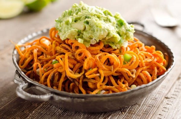 Spicy Roasted Sweet Potato Spirals with Guacamole is an amazingly ...