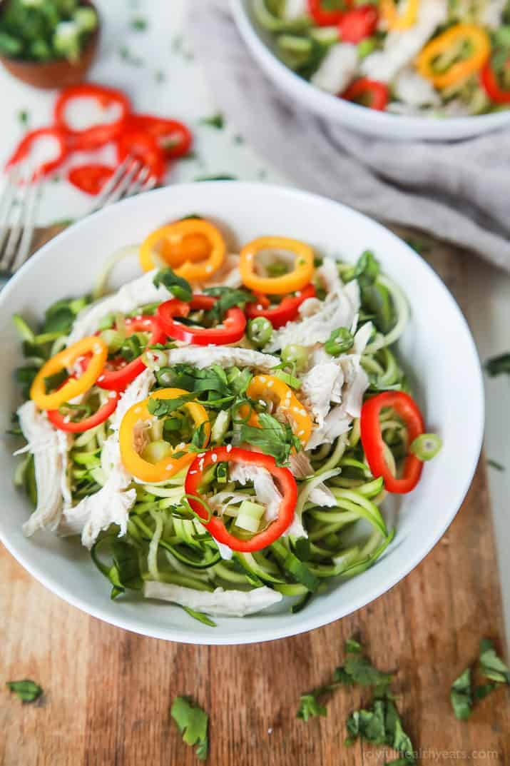 Thai Chicken Zucchini Noodle Salad with a Sesame Vinaigrette done in ...