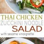 Thai Chicken Zucchini Noodle Salad Recipe with Sesame Vinaigrette