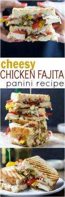A collage of Cheesy Chicken Fajita Panini.