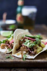 Crock Pot Pork Carnitas Tacos with Avocado Crema