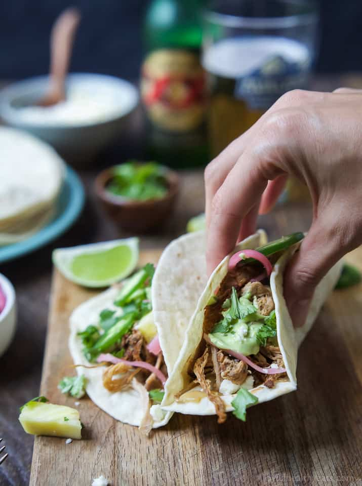 Image of Crock Pot Pork Tacos with Avocado Crema