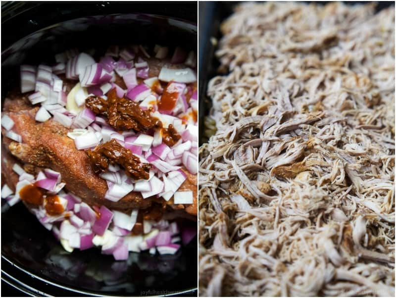 A crock pot with seasoned raw pork and diced red onion, an image of shredded pork carnitas