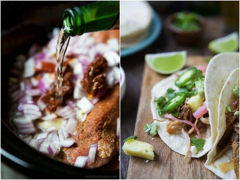 A crock pot with liquid being poured over pork carnitas ingredients, and an image of two shredded pork carnitas tacos