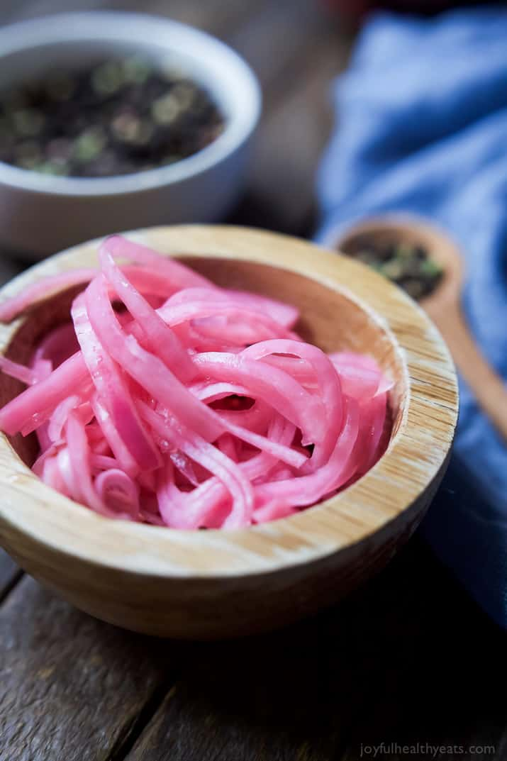 Ever wanted to know how to make Pickled Onions? Look no further! These Easy Foolproof Pickled Onions take just minutes to make! They are delicious on just about anything, but especially a burger! | joyfulhealthyeats.com