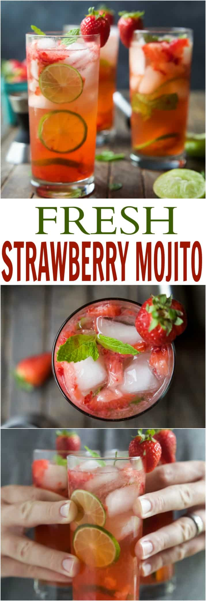 The perfect Strawberry Mojito Recipe - easy, fresh, minty, fizzy, limey and filled with sweet juicy strawberries for the most refreshing cocktail this summer! It is sure to quench your thirst! | joyfulhealthyeats.com