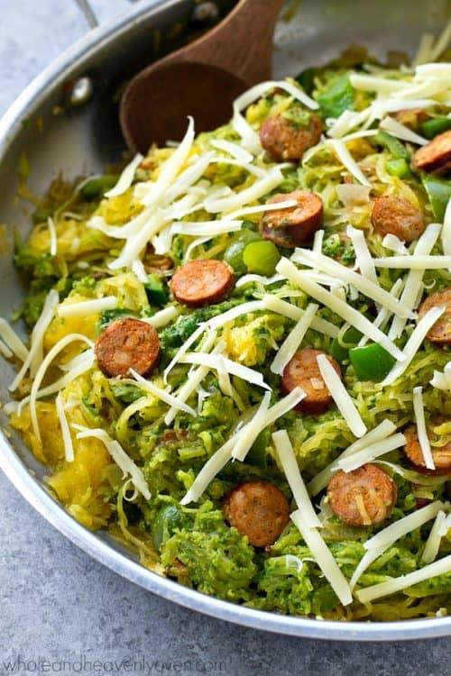 Pesto-Spaghetti-Squash-Sausage-Skillet3