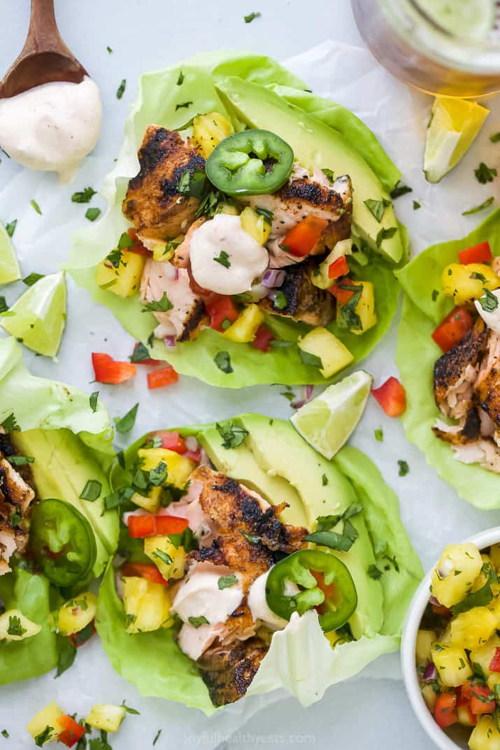 grilled salmon on lettuce with pineapple salsa