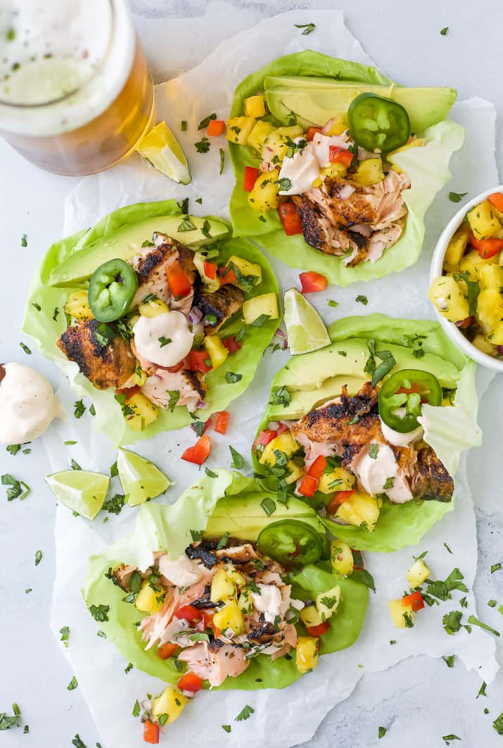 grilled salmon on a lettuce wrap taco