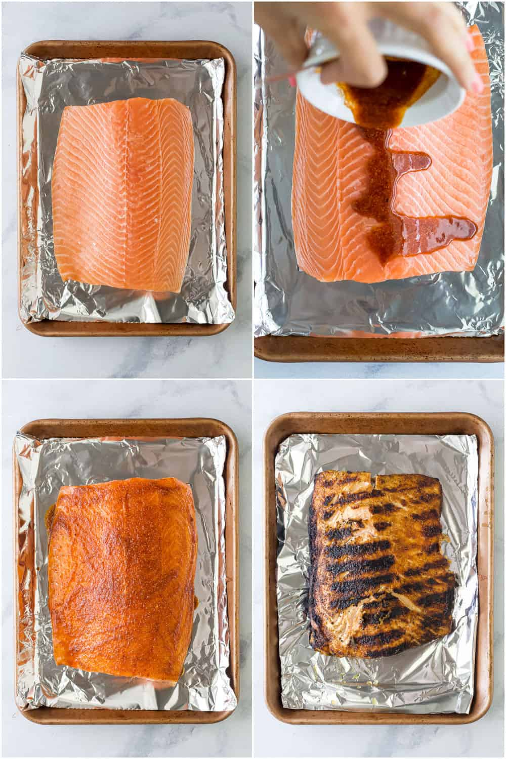 step by step photos of how to make blackened grilled salmon