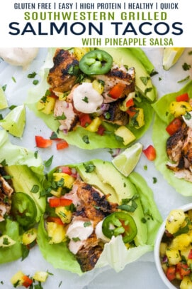 pinterest image for grilled salmon tacos with pineapple salsa