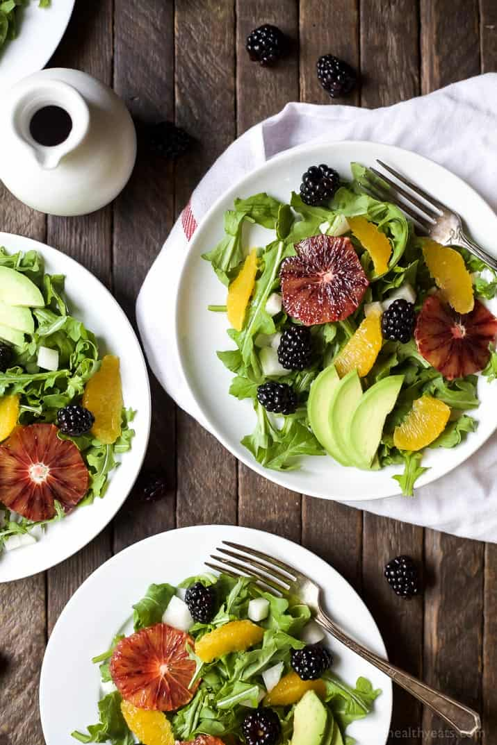 Summer Citrus Avocado Salad filled with fresh blackberries, avocado, spicy arugula, and vibrant citrus then finished with a Citrus Vinaigrette. This Salad is light, refreshing, low calorie, and takes minutes to make! | joyfulhealthyeats.com #glutenfree #vegetarian #paleo
