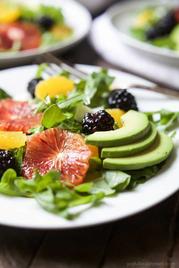 Summer Citrus Avocado Salad Filled With Fresh Blackberries Avocado Spicy Arugula And Vibrant