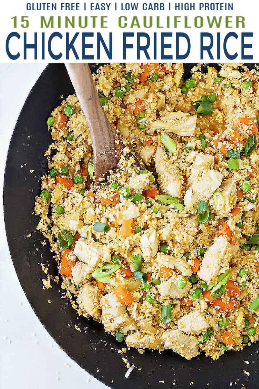 pinterest collage for 15 Minute Cauliflower Chicken Fried Rice