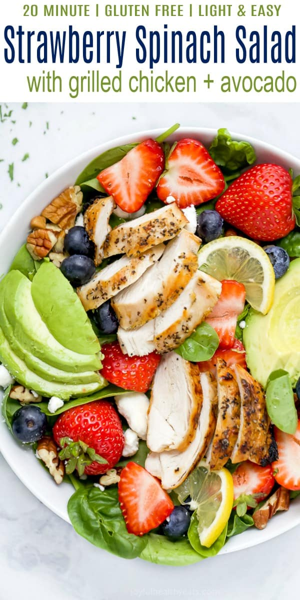 pinterest image for the best avocado strawberry spinach salad with chicken