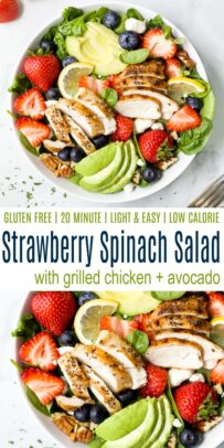 pinterest image for the best avocado strawberry spinach salad with grilled chicken