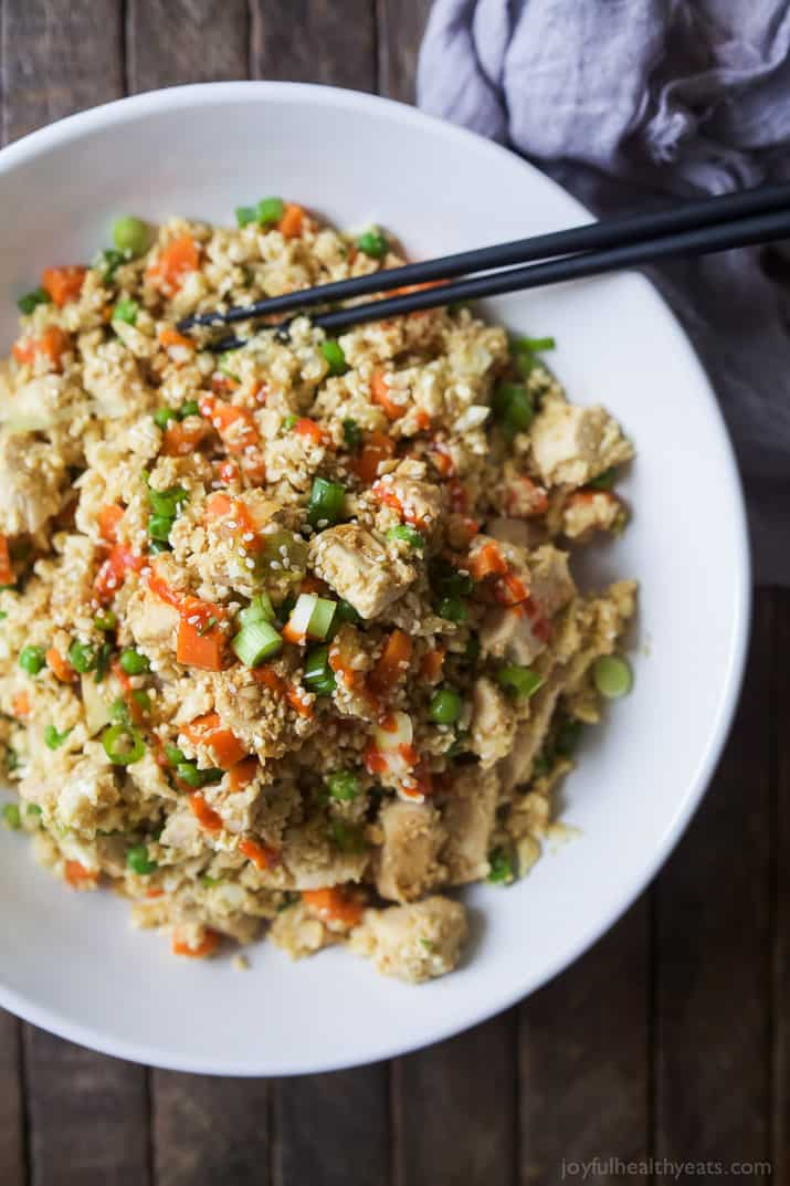Top view of Chicken Cauliflower Fried Rice in a bowl