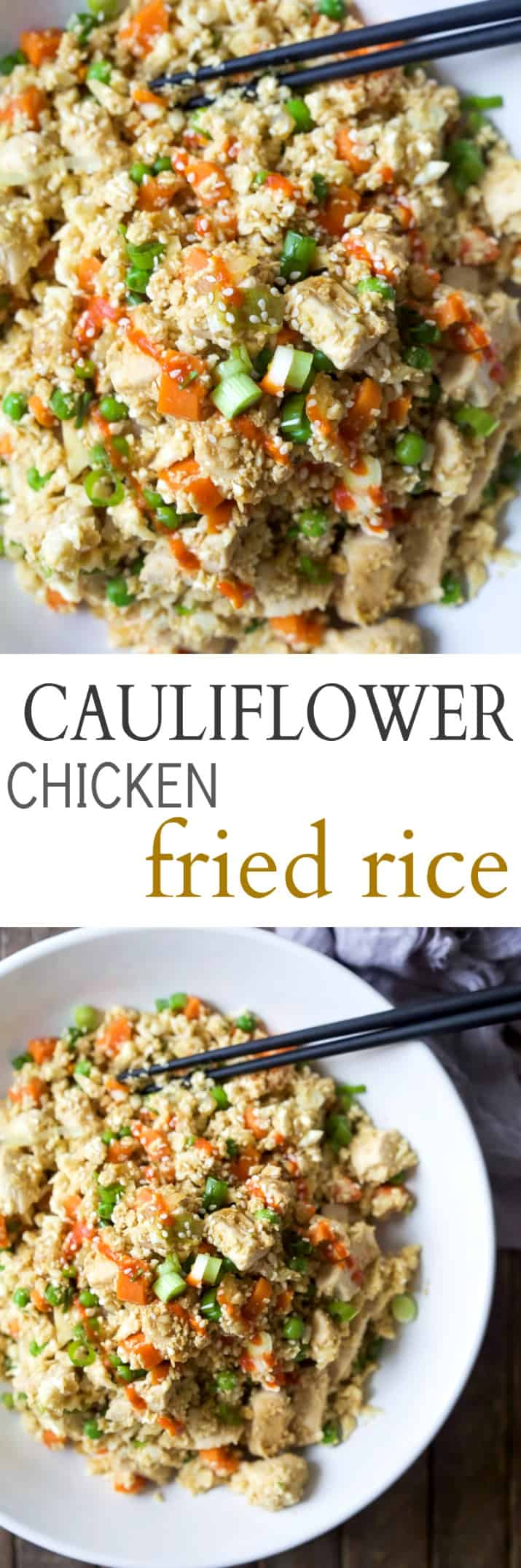 Easy 15 Minute Cauliflower Chicken Fried Rice that's way better than takeout and tons healthier for you. Only 205 calories a serving! | gluten free recipes