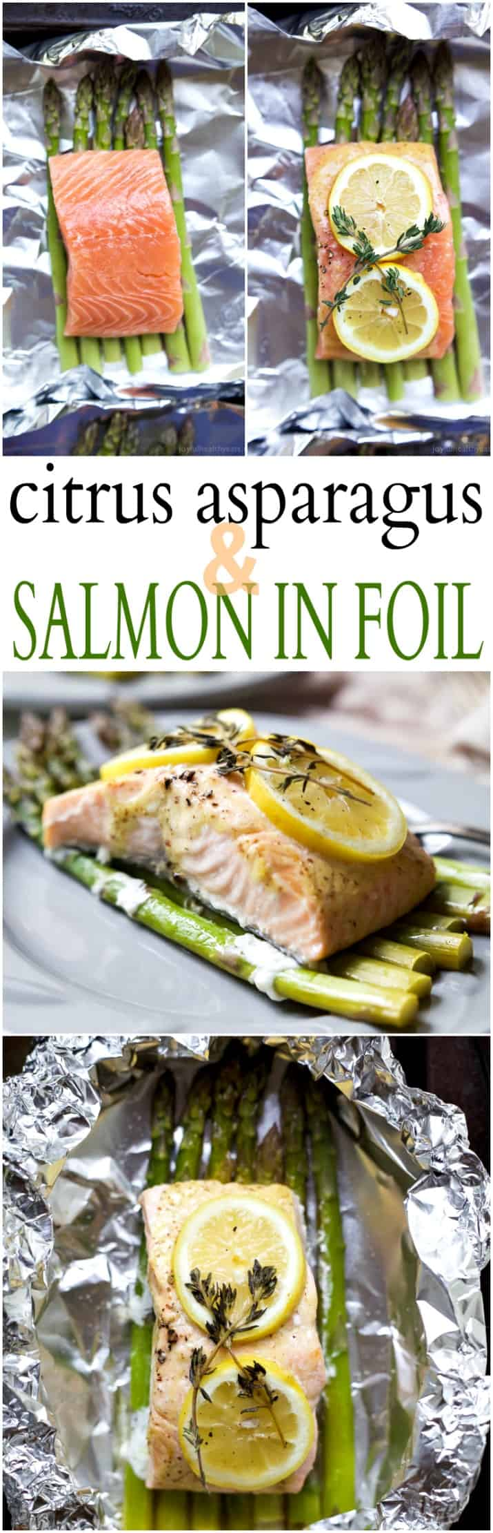 Citrus Asparagus & Salmon in Foil - so easy to make, loaded with roasted garlic and citrus flavor, plus clean up is a breeze! Dinner has never been easier!