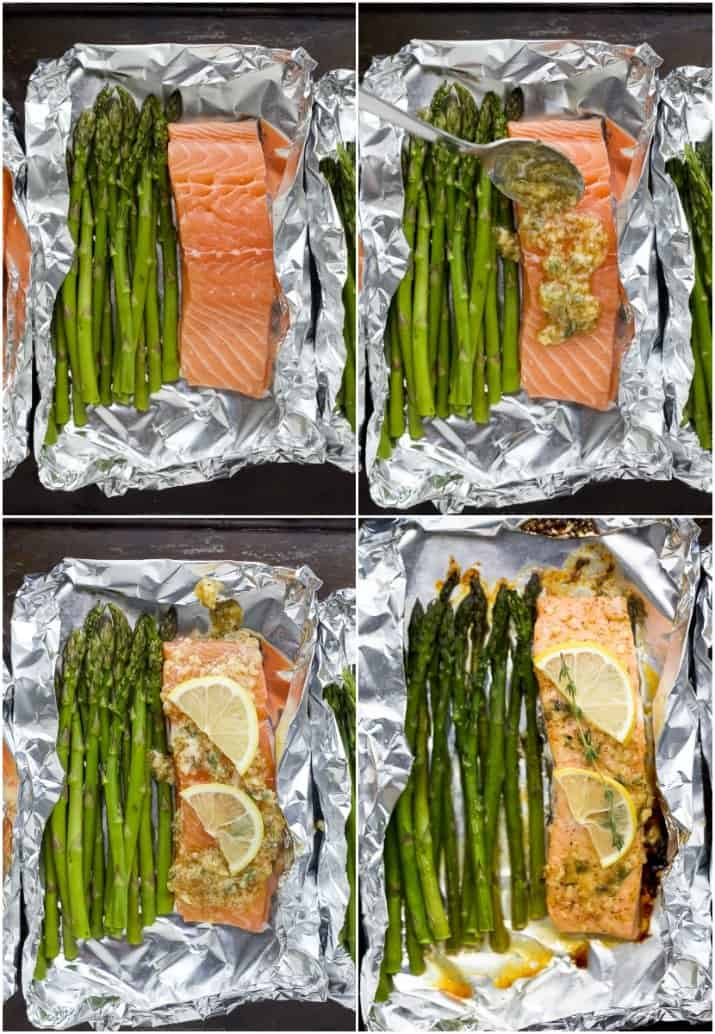 a collage of images showing you how to make citrus baked salmon in foil with asparagus