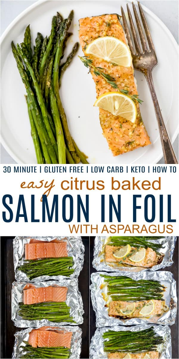 pinterest image for citrus baked salmon in foil