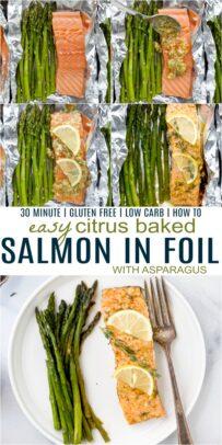 pinterest image for citrus baked salmon in foil