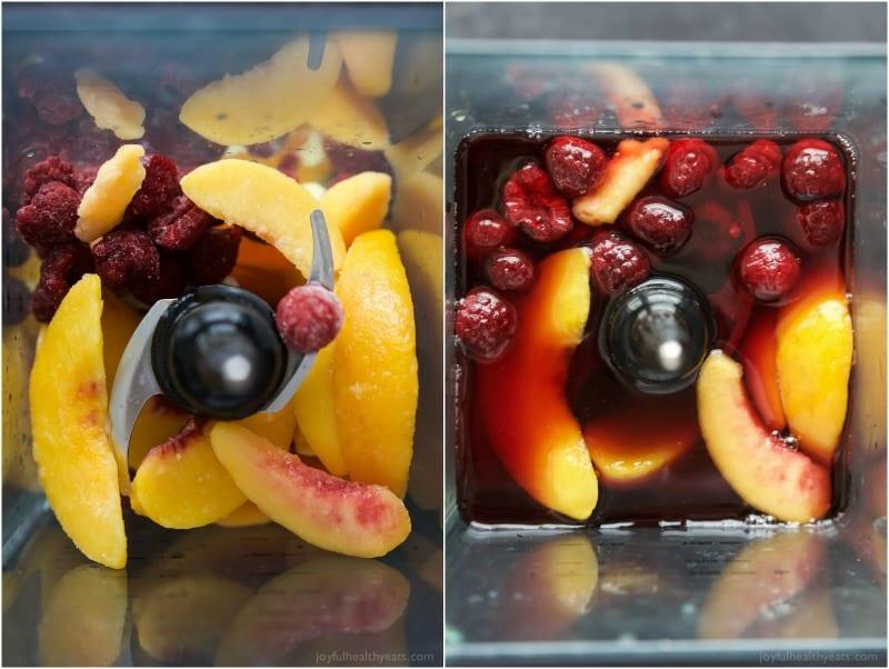 Top view of Frozen Raspberry Peach Sangria ingredients in a blender