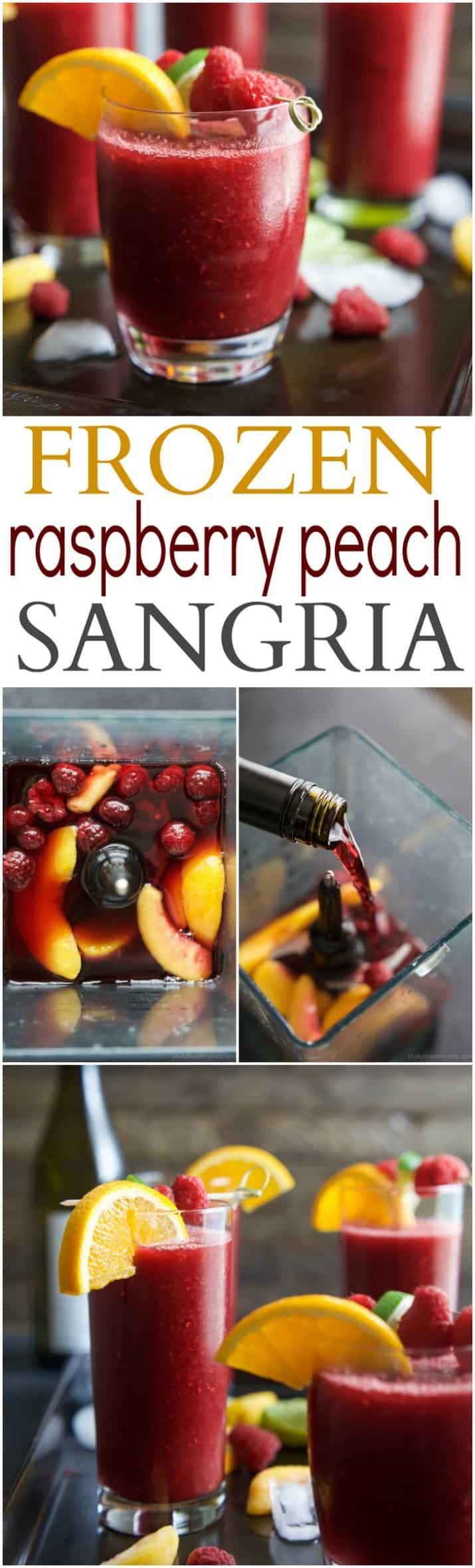 Frozen Raspberry Peach Sangria recipe collage